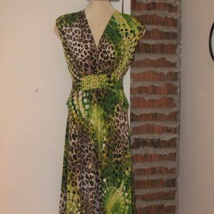Joseph Ribkoff Dress Size 10 Sash Tie AnimaL Print